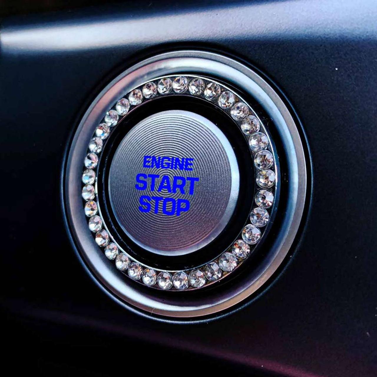 Crystal Car Bling Ring Start Button Emblems Bling Car Decor