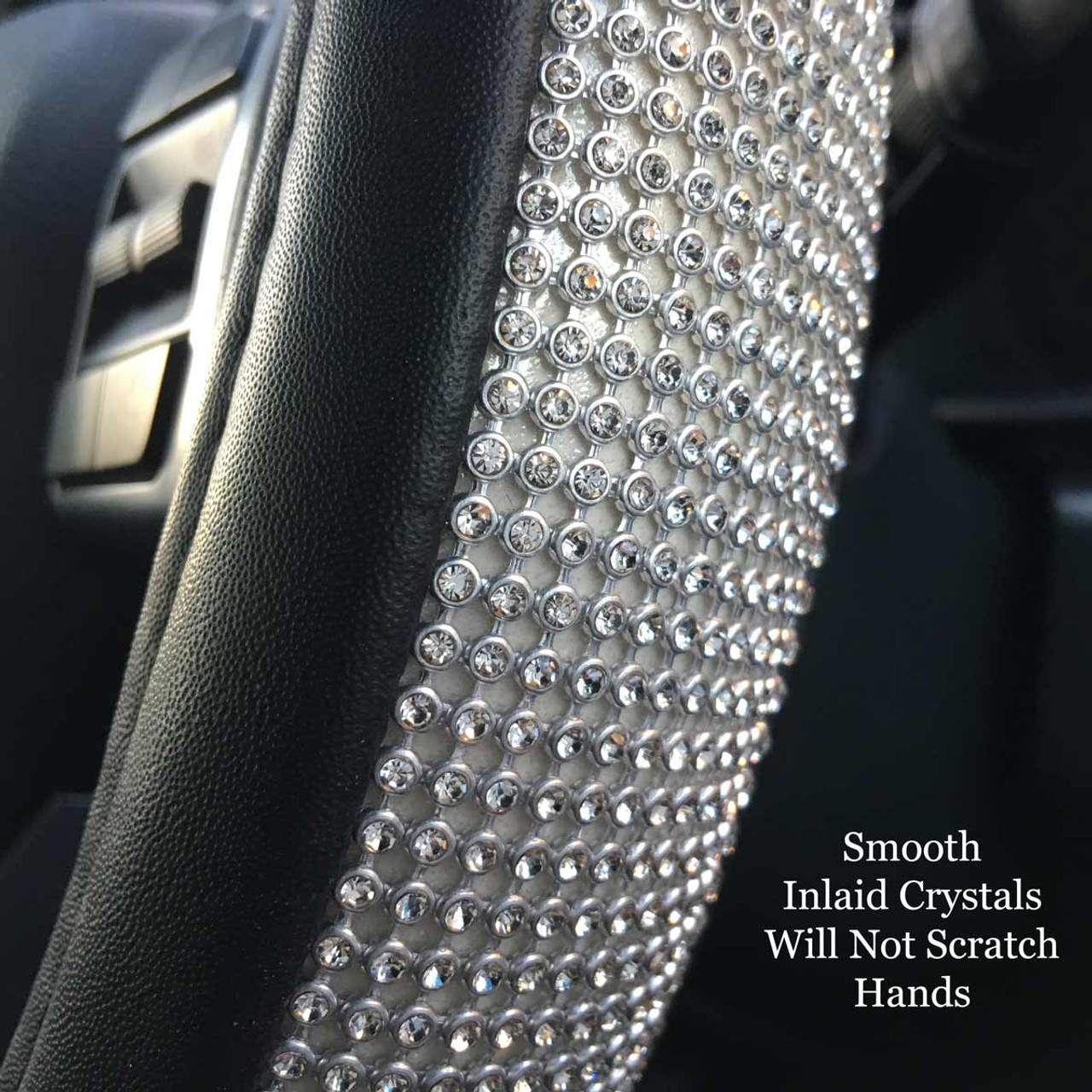 Crystal Steering Wheel Cover W Bling Ring Emblem Bling Car Decor