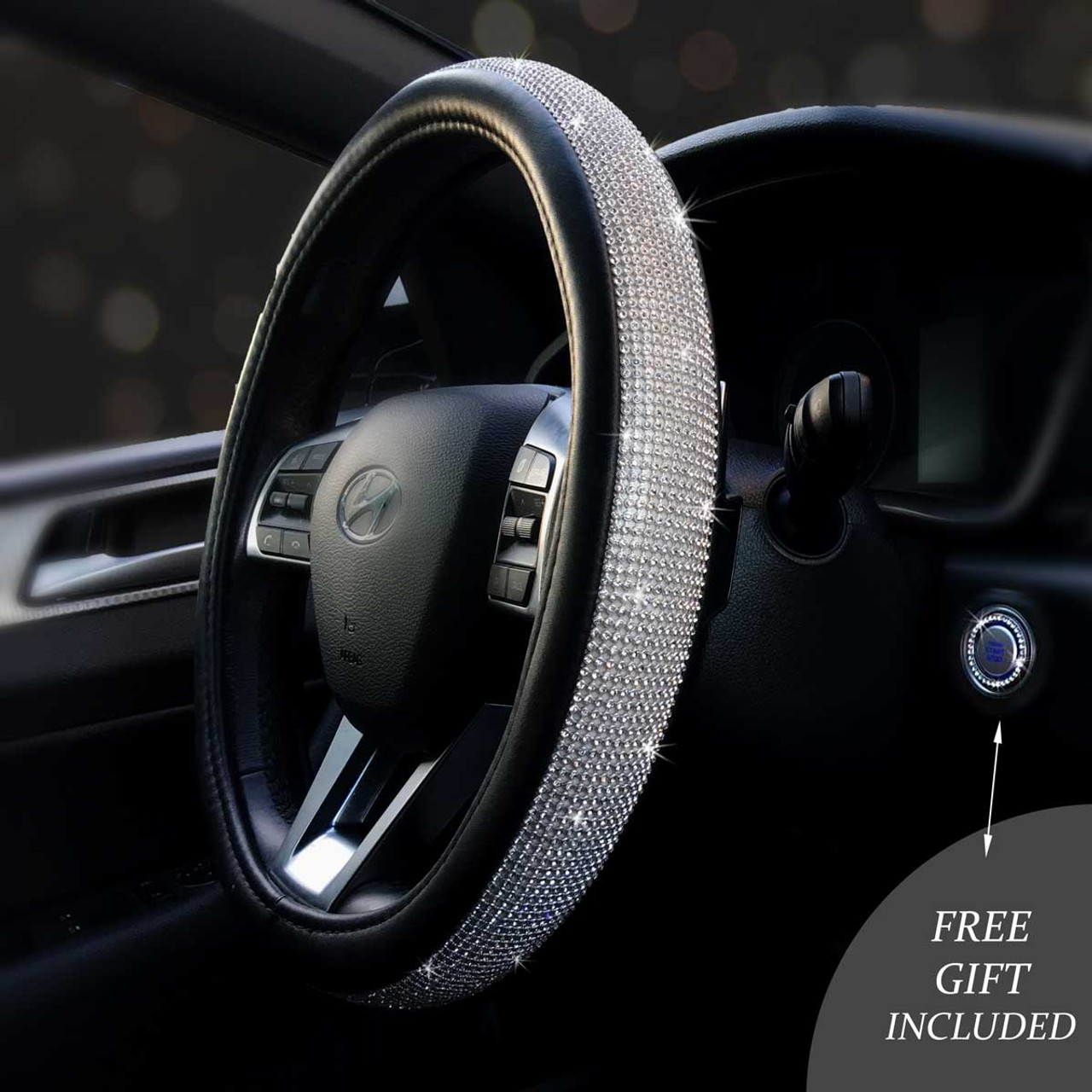 Bling Steering Wheel Covers W Free Ring Emblem