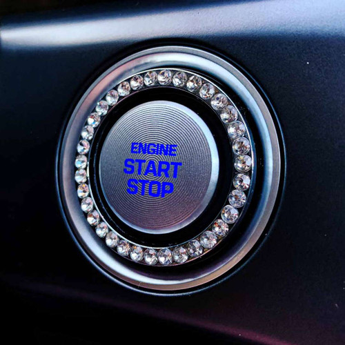 Bling Car Decor -  Silver Bling Ring Button Emblem