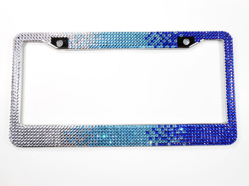 Blue Ombre 7 Row Rhinestone License Plate Frame