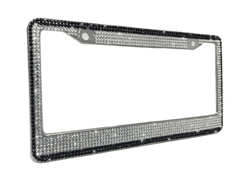 Crystal License Plate Frame with Black Border