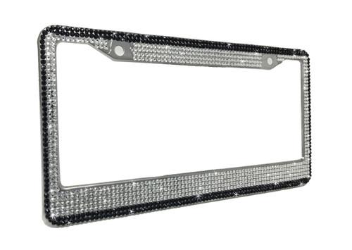 Crystal License Plate Frame with Black Border