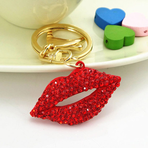 Kiss Lips Crystal Keychain Purse Charm