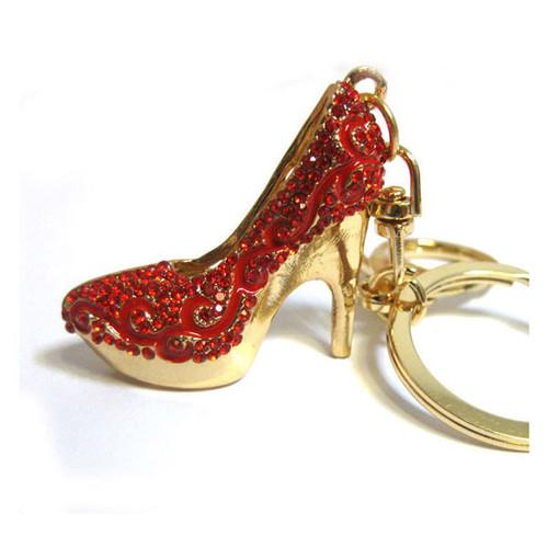 Red Crystal Heel Keychain Purse Charm