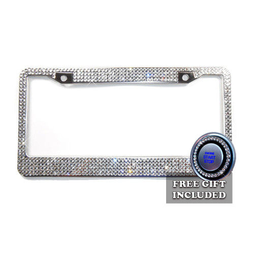 5 Row Crystal Rhinestone License Plate Frame