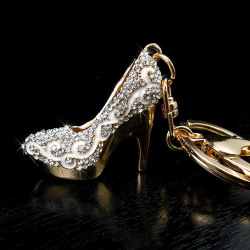 Crystal High Heel Shoe Keychain Purse Charm