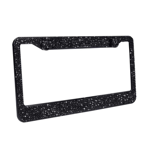 Black Glass Crystal Rhinestone License Plate Frame