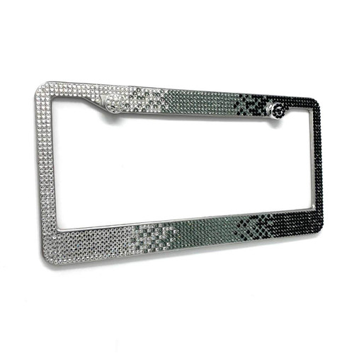 Black Ombre Glass Crystal Rhinestone License Plate Frame