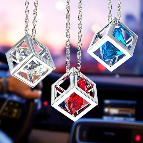 diamond cube rear view mirror charm