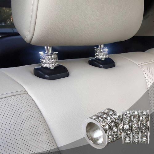 ATMOMO Pink Bling Crystal Car Decor Headrest Collars Rings Shiny Diamond Car Seat Headrest Charms Interior Decoration