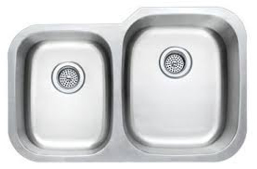 Rocket Supply 40/60 Reverse Double Bowl Stainless Steel Sink - 18 Gauge