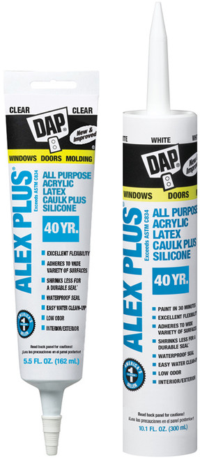 DAP ALEX PLUS Acrylic Latex Caulk Plus Silicone - Rocket Supply - Concrete and Stone Tool Supply Store