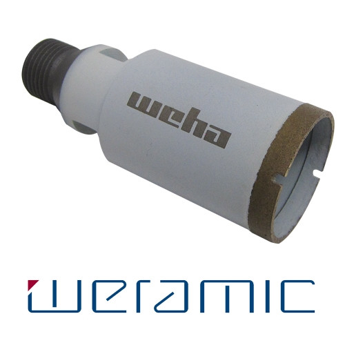 "Weha Weramic 1 3/8"" CNC Porcelain Ceramic Core Bit 1/2 Gas Thread - Rocket Supply - Concrete and Stone Tool Supply Store"
