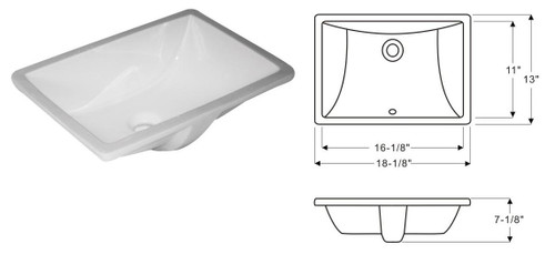 Rocket Sink White Vanity Sink - 16 X 11 inch