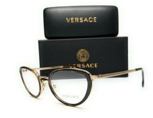 Versace VE1258 1440 Havana Pale Gold Demo Lens Women Phantos Eyeglasses 52mm