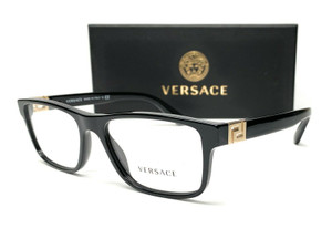 VERSACE VE3211 GB1 Black Demo Lens Rectangle Men's Pillow Eyeglasses 55mm