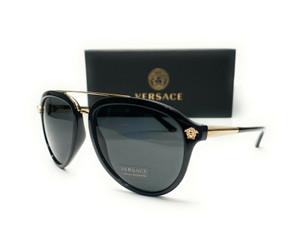 Versace VE4341 GB1 87 Black Grey Grad Lens Men Pilot Sunglasses 58mm