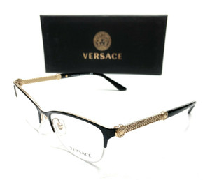Versace VE1228 1291 Black/Gold Women's Cat Eye Demo Lens Eyeglasses Frame 53-17