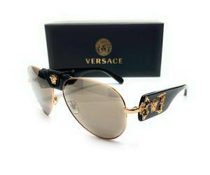 VERSACE VE2150Q 10025A Black Gold Light Brown Mirror Men Sunglasses 62mm