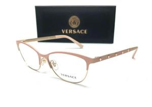 Versace VE1251 1424 Matte Pink Pale Gold Demo Lens Women Eyeglasses 53-16