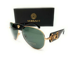 Versace VE2150Q 100271 Gold Grey Green Lens Men's Pilot Sunglasses 62mm