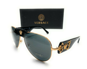 VERSACE VE2150Q 100287 Black Gold Men Pilot Sunglasses 62-14