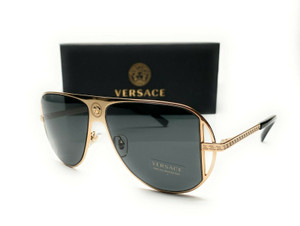 Versace VE2212 100287 Gold Grey Lens Men's Pilot Sunglasses 57mm