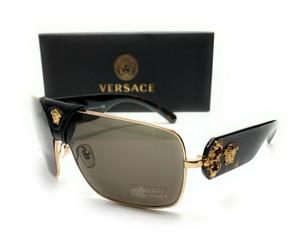 Versace VE2207Q 1002 3 Gold Brown Lens Unisex Square Sunglasses 38mm