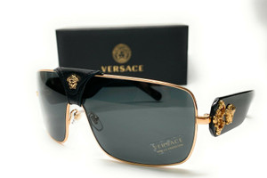 VERSACE VE2207Q 100287 Gold Grey Lens Unisex Square Sunglasses 38mm