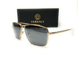 Versace VE2216 1002Z3 Gold Dark Grey Mirror Silv Polarized Men Sunglasses 61mm