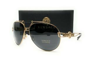 VERSACE VE2160 125287 Pale Gold Grey Women's Sunglasses 63mm