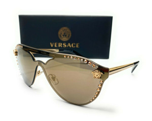 Versace VE2161B 12525A Pale Gold Brown Mirror Lens Women Sunglasses 42mm