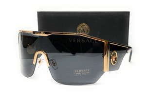 Versace VE2220 100287 Gold Grey Men's Rectangle Sunglasses 41 mm