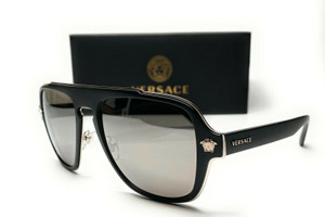 Versace VE2199 10006G Matte Black Grey Mirror Silver Lens Men's Sunglasses 56mm