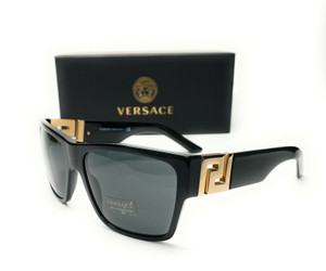 Versace VE4296 GB1 87 Black Grey Lens Men's Square Sunglasses 59mm