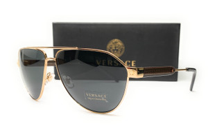VERSACE VE2223 100287 Gold Dark Grey Men's Sunglasses 62 mm
