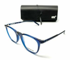Mont Blanc MB0010O 007 Blue Transparent Men Authentic Eyeglasses Frame 53 mm