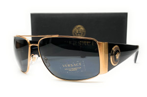 VERSACE VE2163 100281 Gold Dark Gr Polarized Men's Sunglasses 63 mm