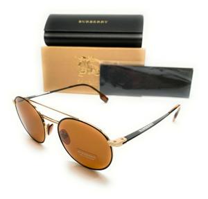 Burberry BE 3109 1293/73 Gold Matte Black Men's Authentic Sunglasses 53-19