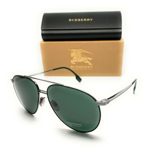 Burberry BE 3108 100371 Gunmetal Men's Authentic Pilot Sunglasses 60-14