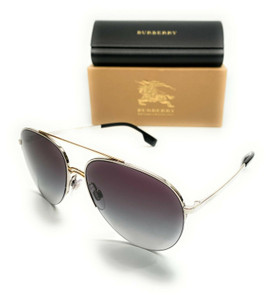 Burberry BE 3113 13038G Silver Women's Authentic Pilot Sunglasses 59-15