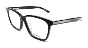 Balenciaga BB0023OA 001 Black Unisex Authentic Acetate Eyeglasses Frame 55-13