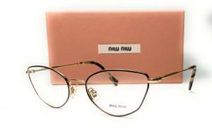 MIU MIU VMU 51S 09B-1O1 Pale Gold Bordeaux Demo Lens Women's Eyeglasses 52mm
