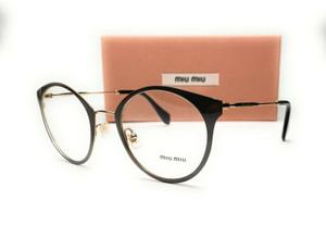 MIU MIU VMU 51P USR-1O1 Pale Gold Grey Demo Lens Women's Eyeglasses 50 mm