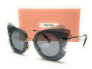 MIU MIU SMU 02S VA4-3C2 Dark Grey Grey Women's Sunglasses 63 mm