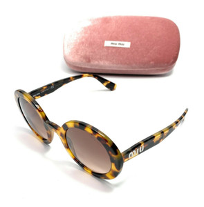 Miu Miu SMU 06U 7S0-QZ9 Havana Round Women's Authentic Sunglasses 48 mm