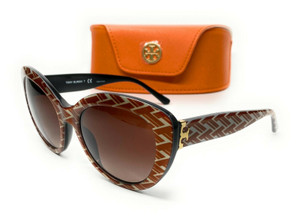 Tory Burch TY7121 174813 Orange Pattern Cat Eye Women's Sunglasses 55 mm