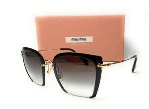Miu Miu SMU 52R 1AB-0A7 Black Grey Gradient Women's Sungasses Square 52mm