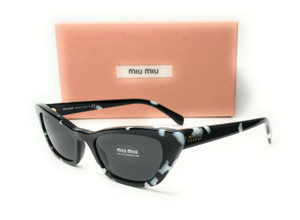 Miu Miu SMU 10U PC7-5S0 Havana Black White Grey Women's Sunglasses Square 53mm